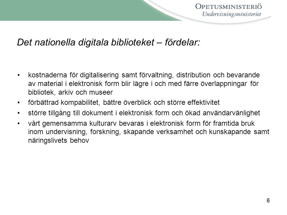 Det nationella digitala biblioteket – fördelar: