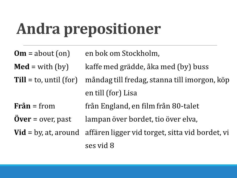Andra prepositioner