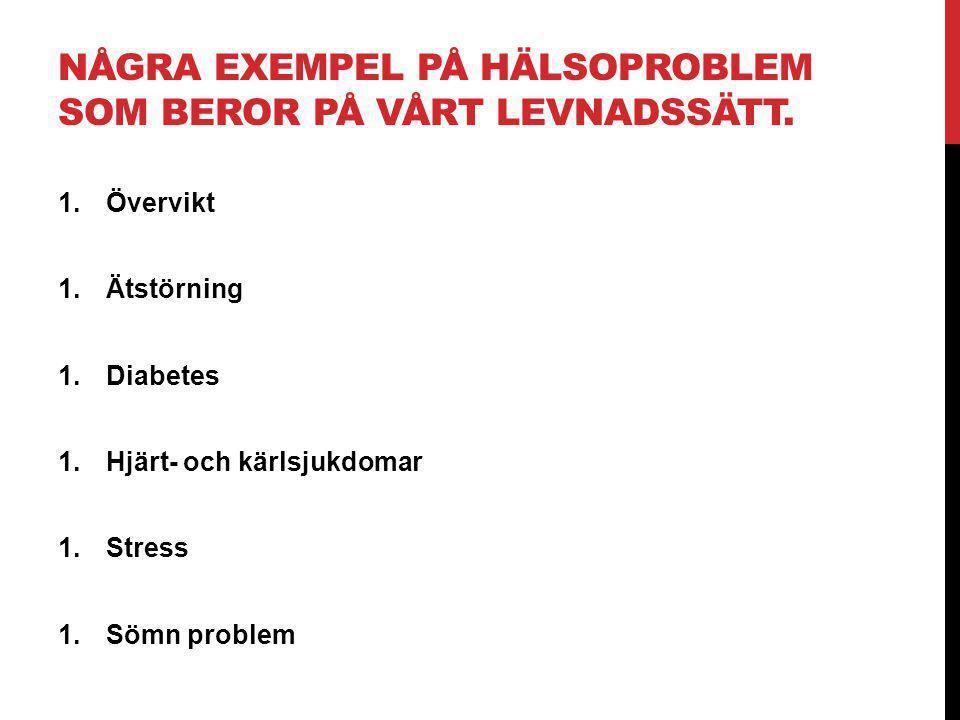 Några exempel på hälsoproblem som beror på vårt levnadssätt.