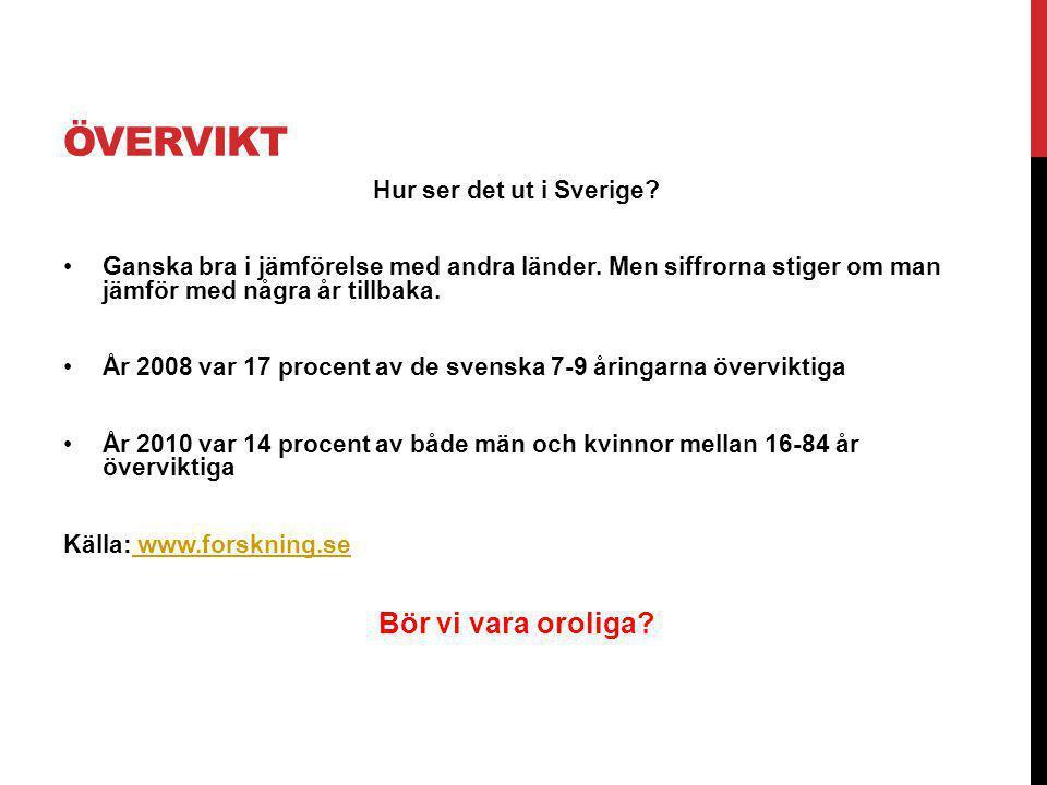 Övervikt Bör vi vara oroliga Hur ser det ut i Sverige