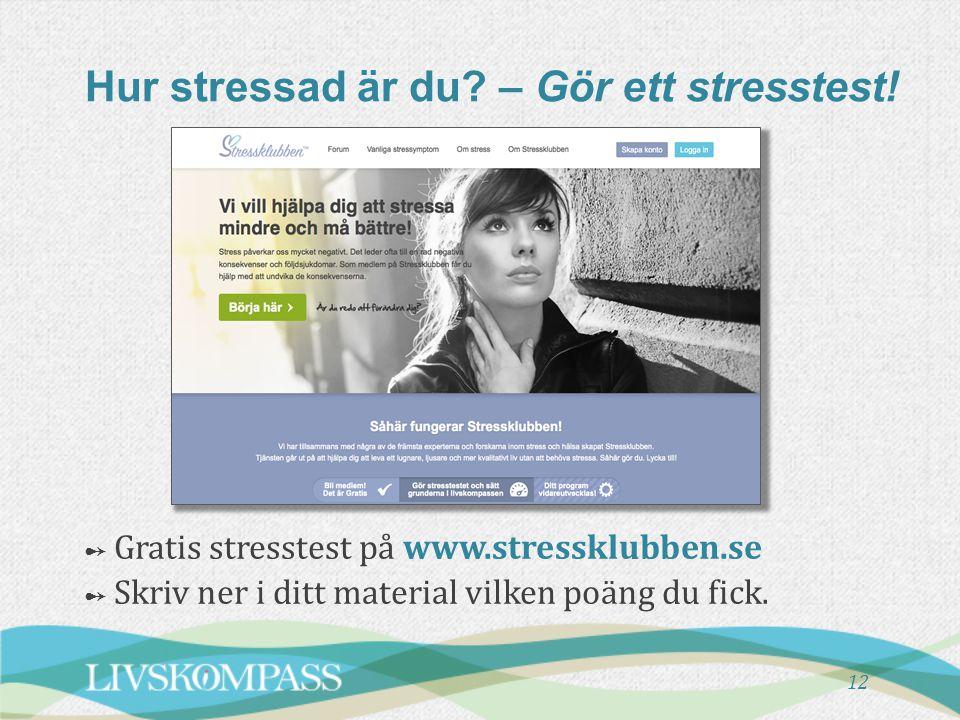 Hur stressad är du – Gör ett stresstest!