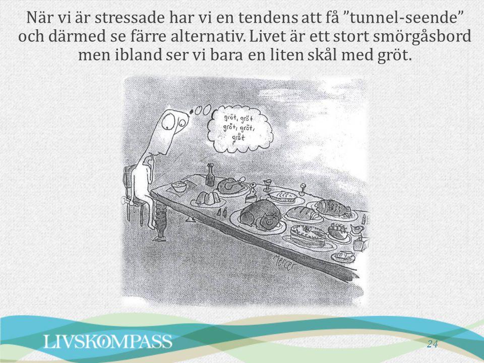 När vi är stressade har vi en tendens att få tunnel-seende och därmed se färre alternativ.