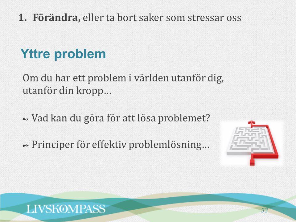 Yttre problem 1. Förändra, eller ta bort saker som stressar oss