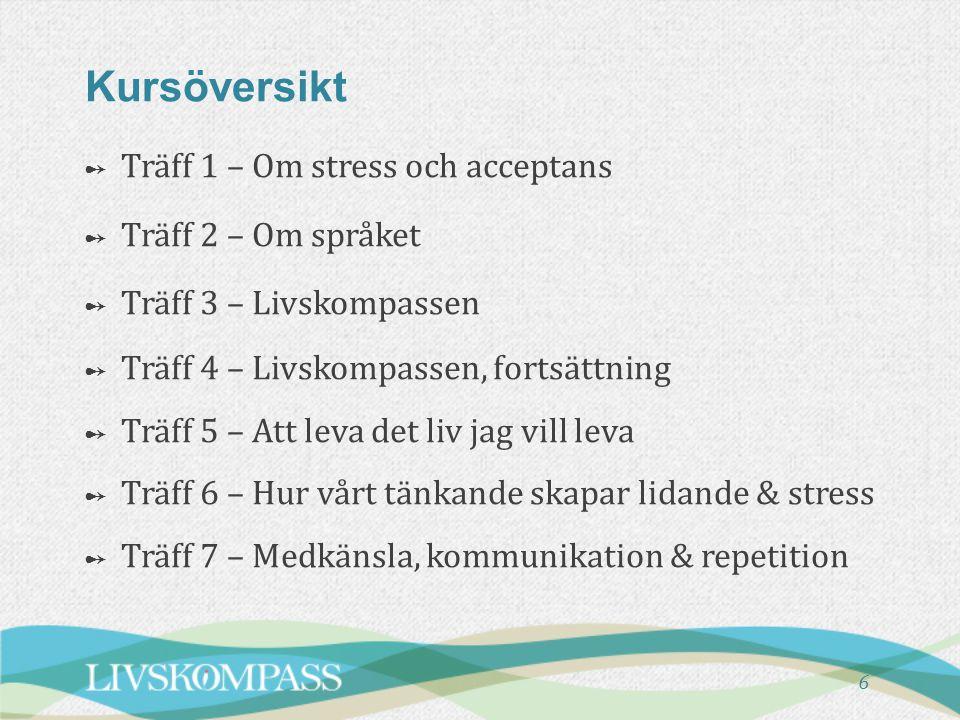 Kursöversikt Träff 1 – Om stress och acceptans Träff 2 – Om språket