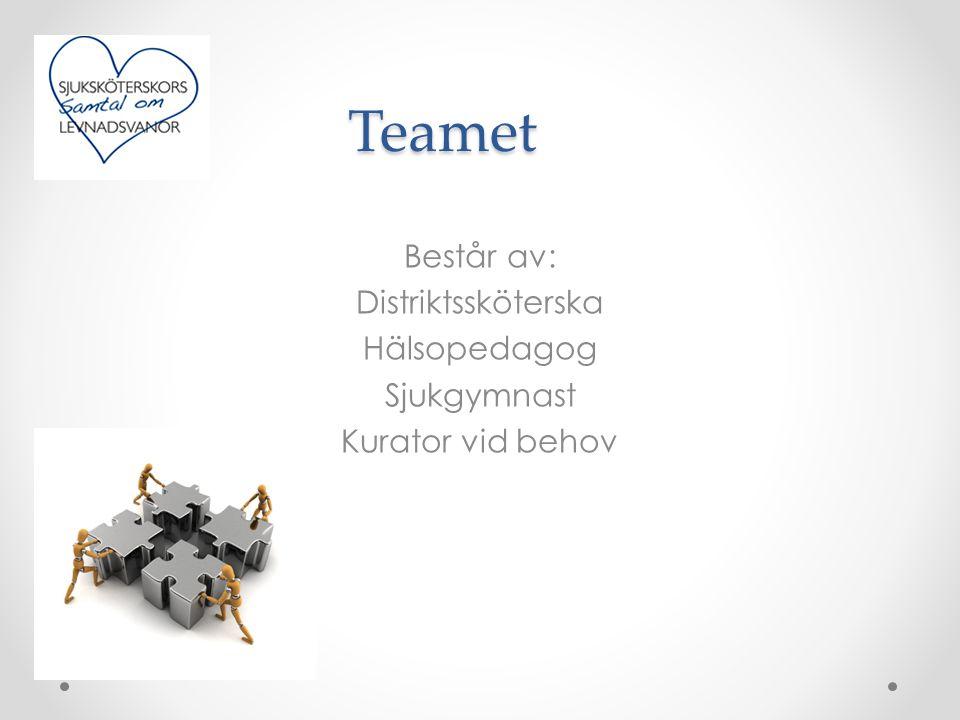 Teamet Består av: Distriktssköterska Hälsopedagog Sjukgymnast