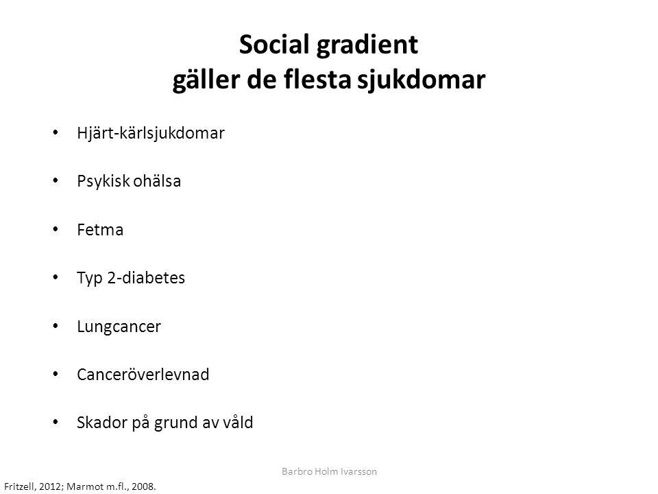 Social gradient gäller de flesta sjukdomar