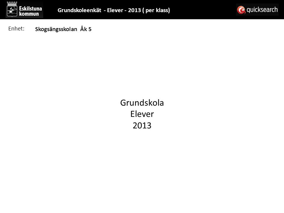 Grundskola Elever 2013 Grundskoleenkät - Elever - 2013 ( per klass)