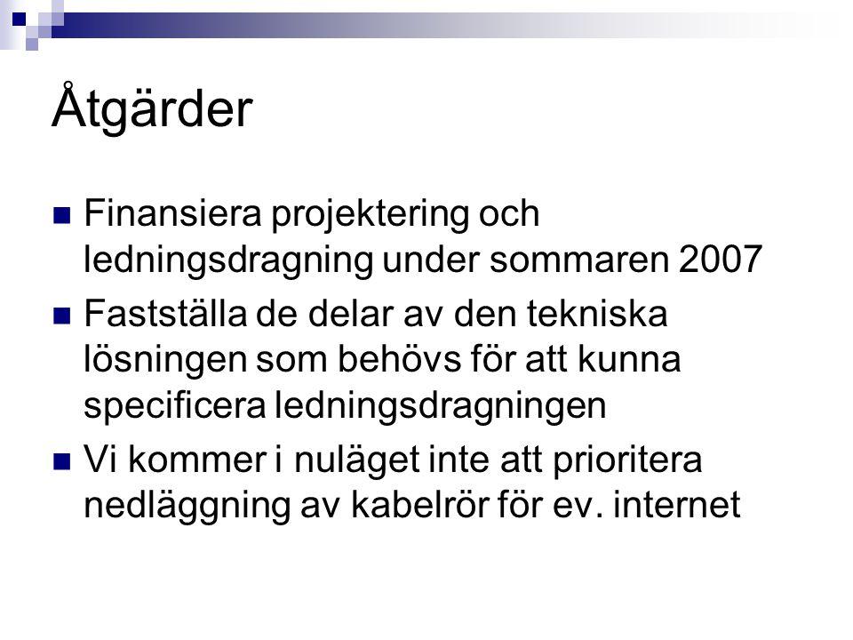 Åtgärder Finansiera projektering och ledningsdragning under sommaren 2007.
