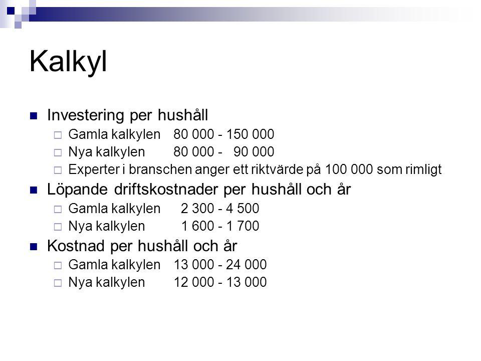Kalkyl Investering per hushåll