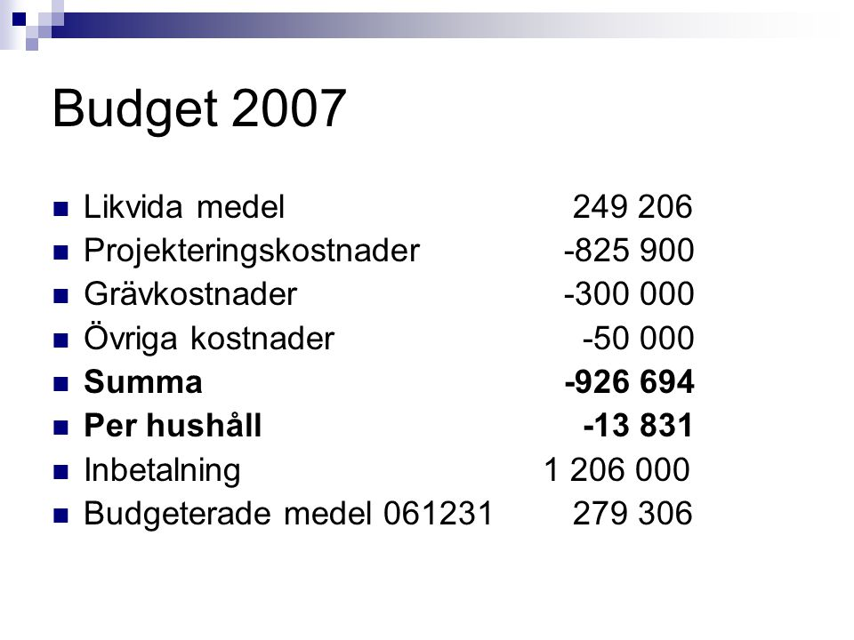 Budget 2007 Likvida medel 249 206 Projekteringskostnader -825 900