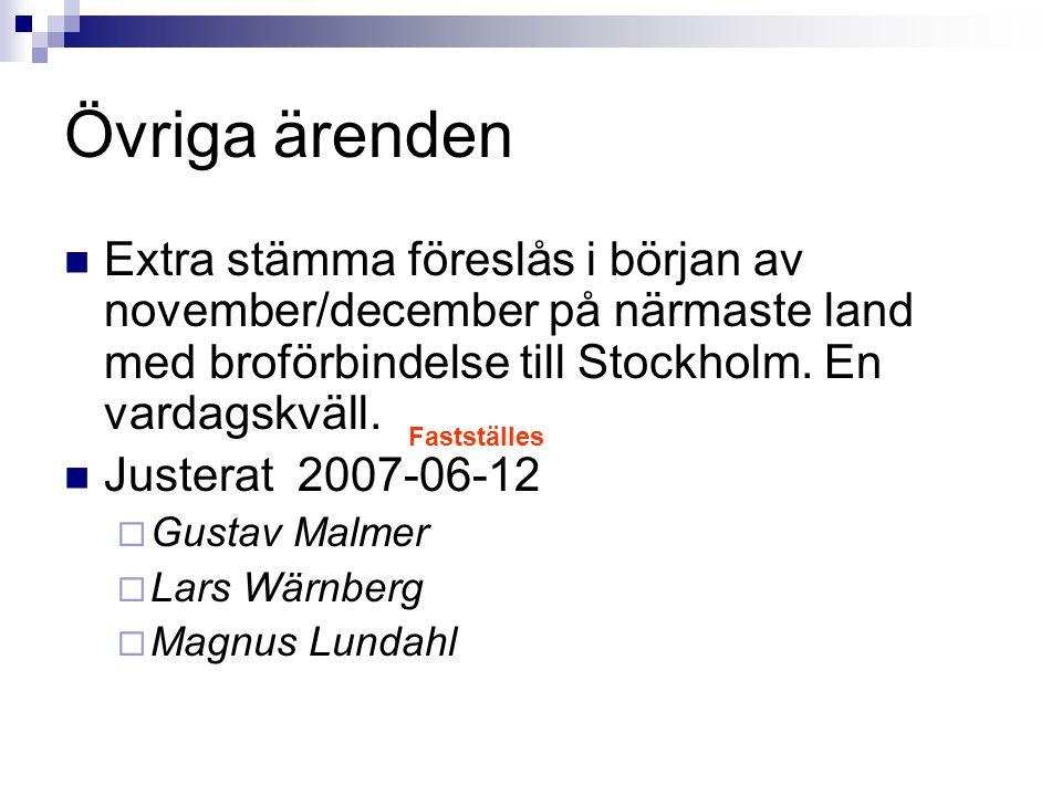 Övriga ärenden Extra stämma föreslås i början av november/december på närmaste land med broförbindelse till Stockholm. En vardagskväll.