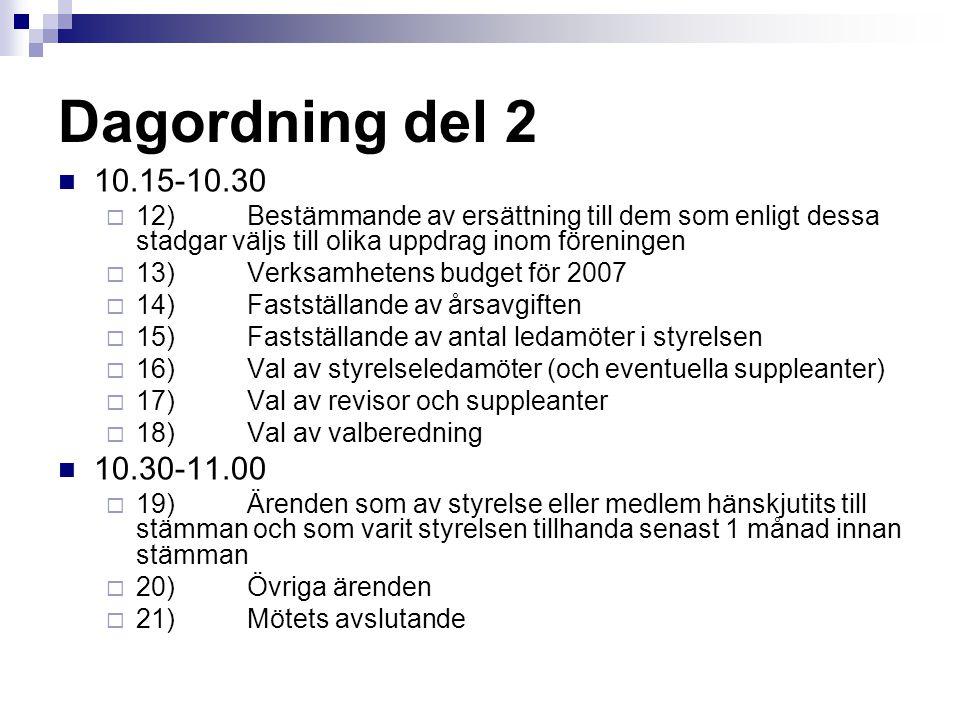 Dagordning del 2 10.15-10.30. 12) Bestämmande av ersättning till dem som enligt dessa stadgar väljs till olika uppdrag inom föreningen.