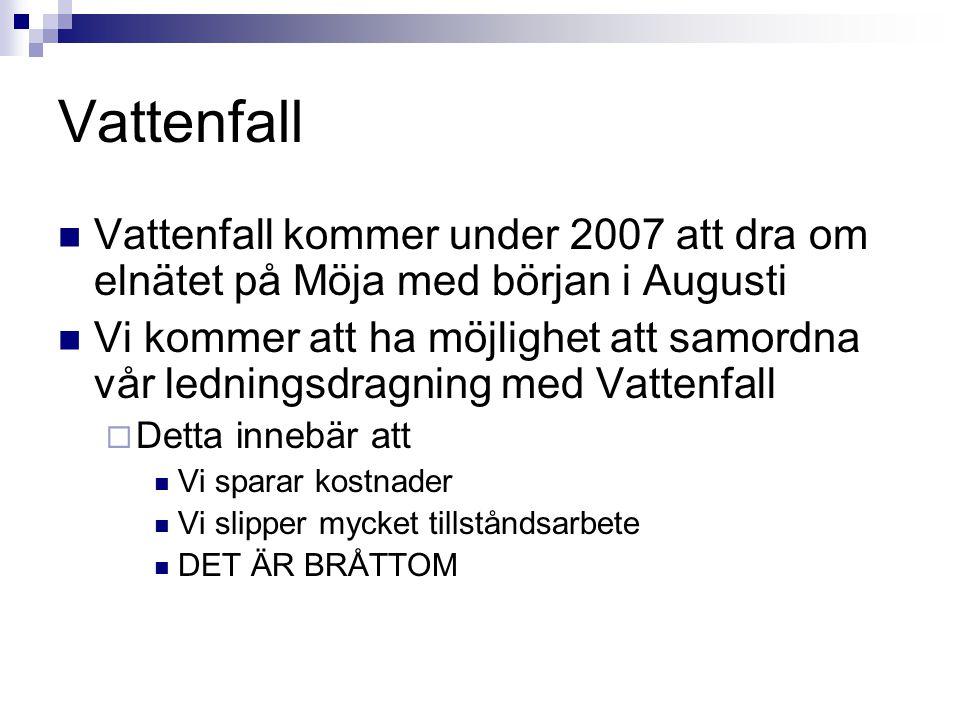 Vattenfall Vattenfall kommer under 2007 att dra om elnätet på Möja med början i Augusti.