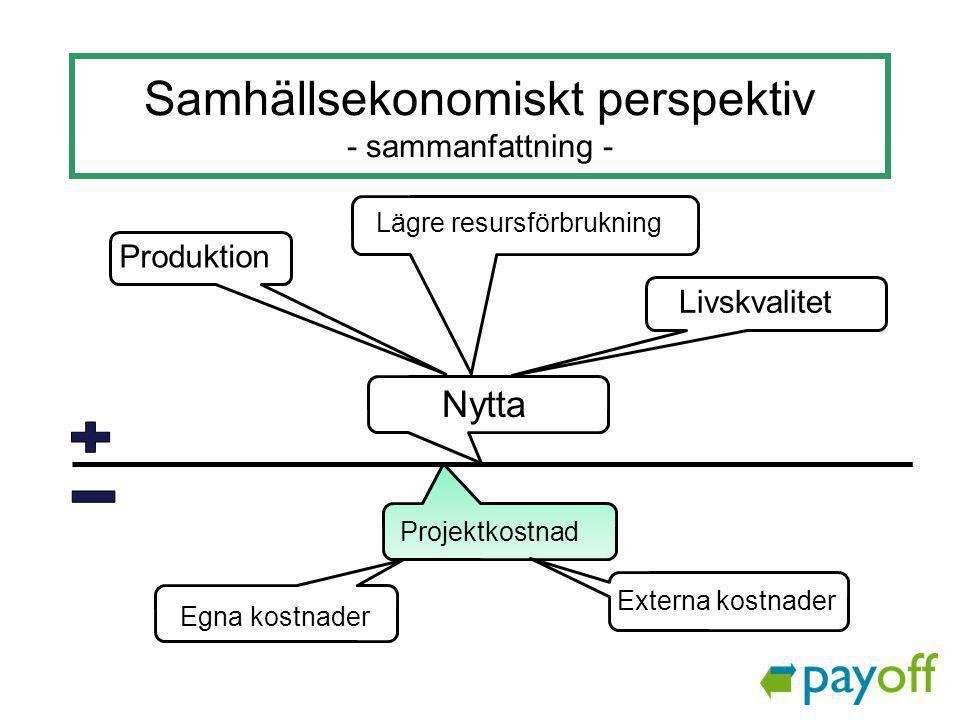 Samhällsekonomiskt perspektiv - sammanfattning -