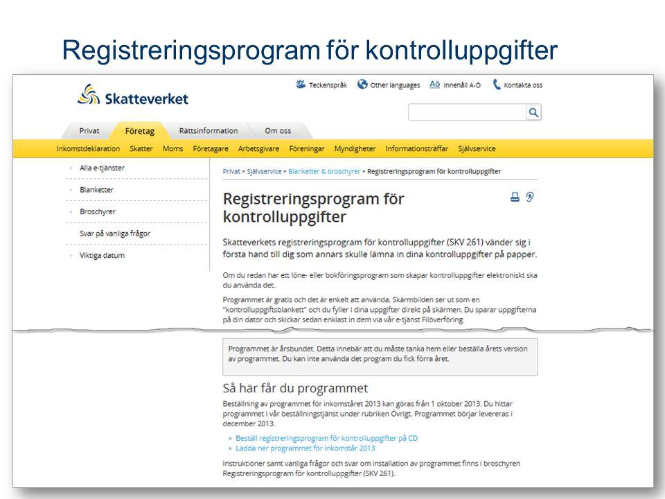 Registreringsprogram för kontrolluppgifter