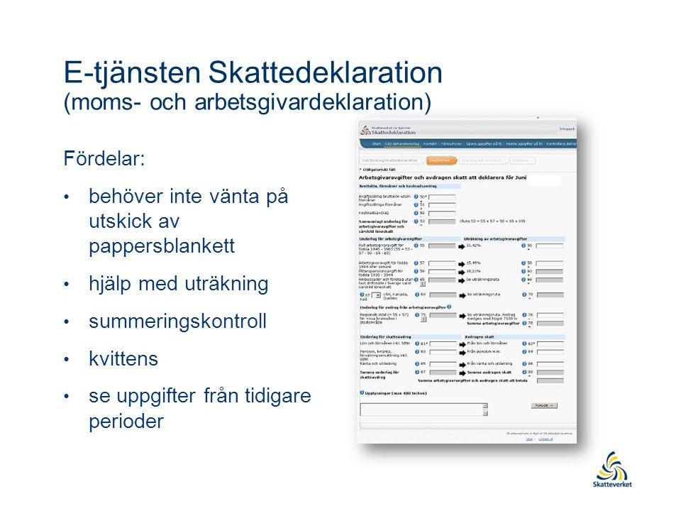 E-tjänsten Skattedeklaration (moms- och arbetsgivardeklaration)