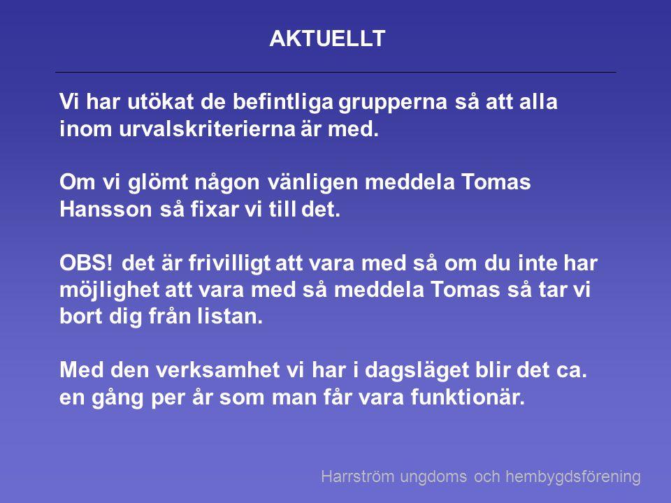 Om vi glömt någon vänligen meddela Tomas Hansson så fixar vi till det.