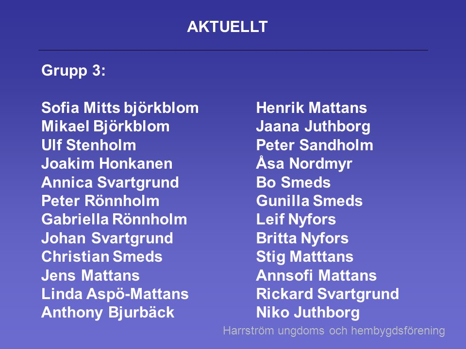 AKTUELLT Grupp 3: Sofia Mitts björkblom Mikael Björkblom Ulf Stenholm