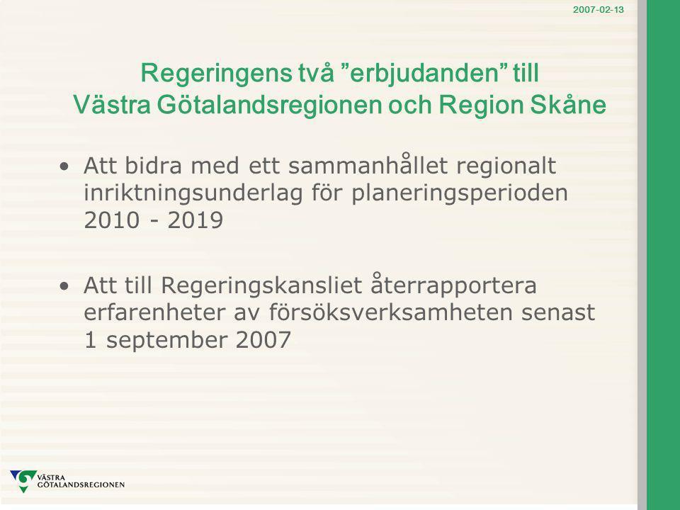 Regeringens två erbjudanden till Västra Götalandsregionen och Region Skåne