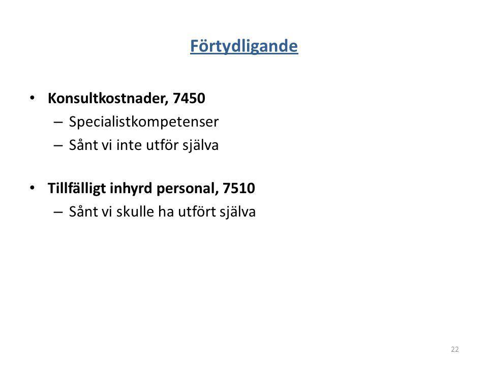 Förtydligande Konsultkostnader, 7450 Specialistkompetenser