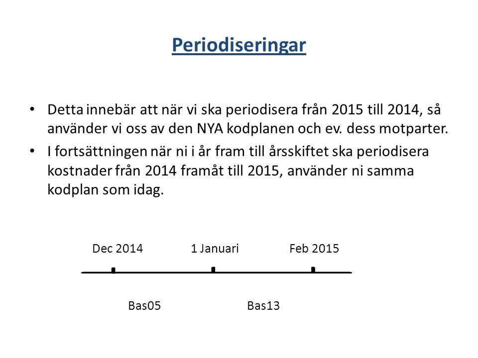 Periodiseringar Detta innebär att när vi ska periodisera från 2015 till 2014, så använder vi oss av den NYA kodplanen och ev. dess motparter.