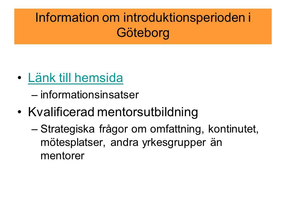 Information om introduktionsperioden i Göteborg