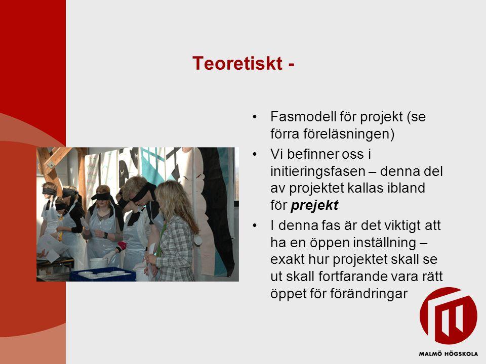 Teoretiskt - Fasmodell för projekt (se förra föreläsningen)