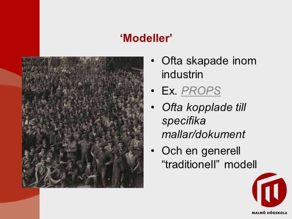 'Modeller' Ofta skapade inom industrin. Ex. PROPS.