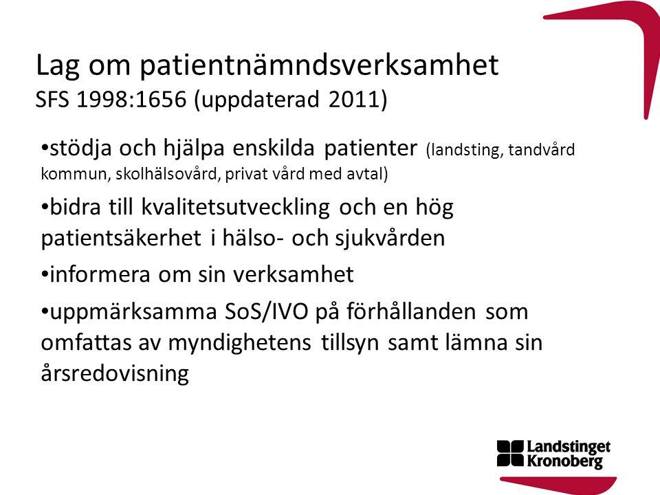 Lag om patientnämndsverksamhet SFS 1998:1656 (uppdaterad 2011)