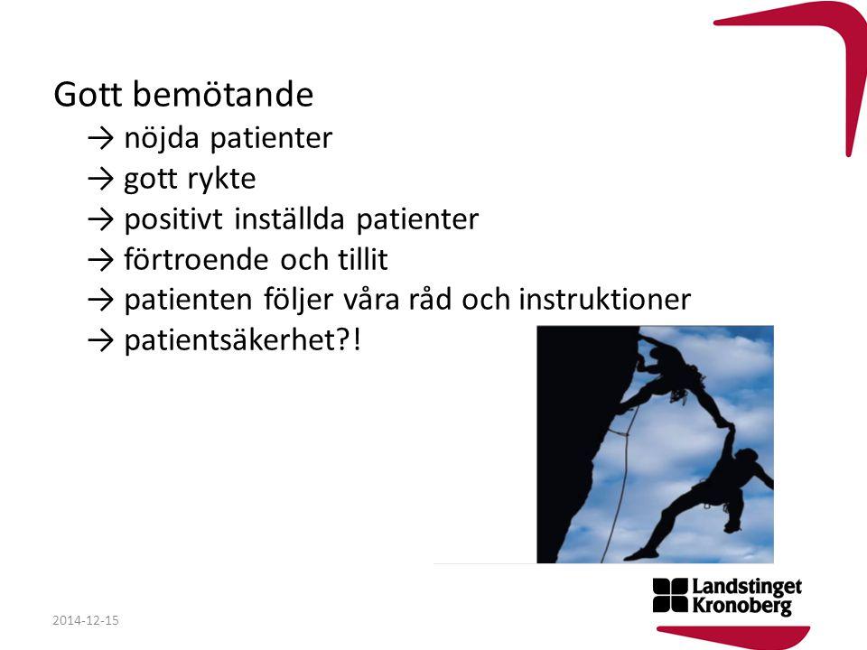 Gott bemötande → nöjda patienter → gott rykte → positivt inställda patienter → förtroende och tillit → patienten följer våra råd och instruktioner → patientsäkerhet !