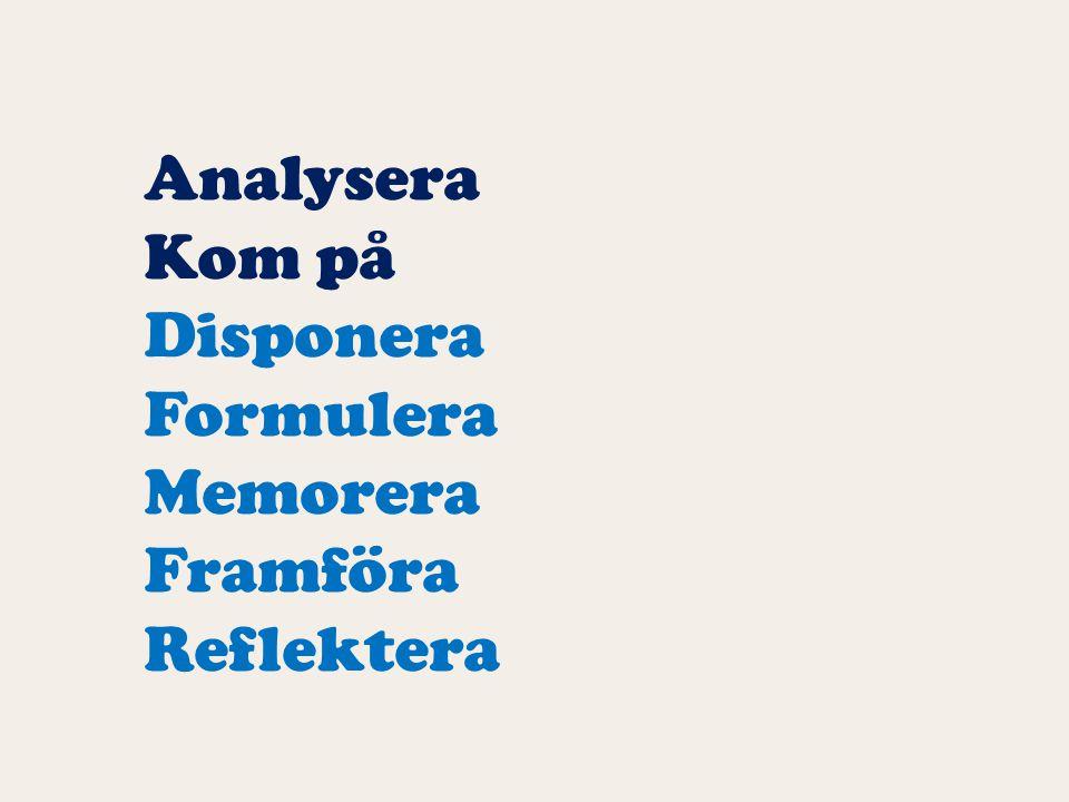 Analysera Kom på Disponera Formulera Memorera Framföra Reflektera