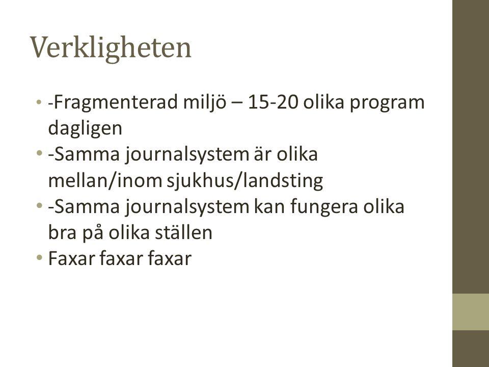 Verkligheten -Fragmenterad miljö – 15-20 olika program dagligen. -Samma journalsystem är olika mellan/inom sjukhus/landsting.