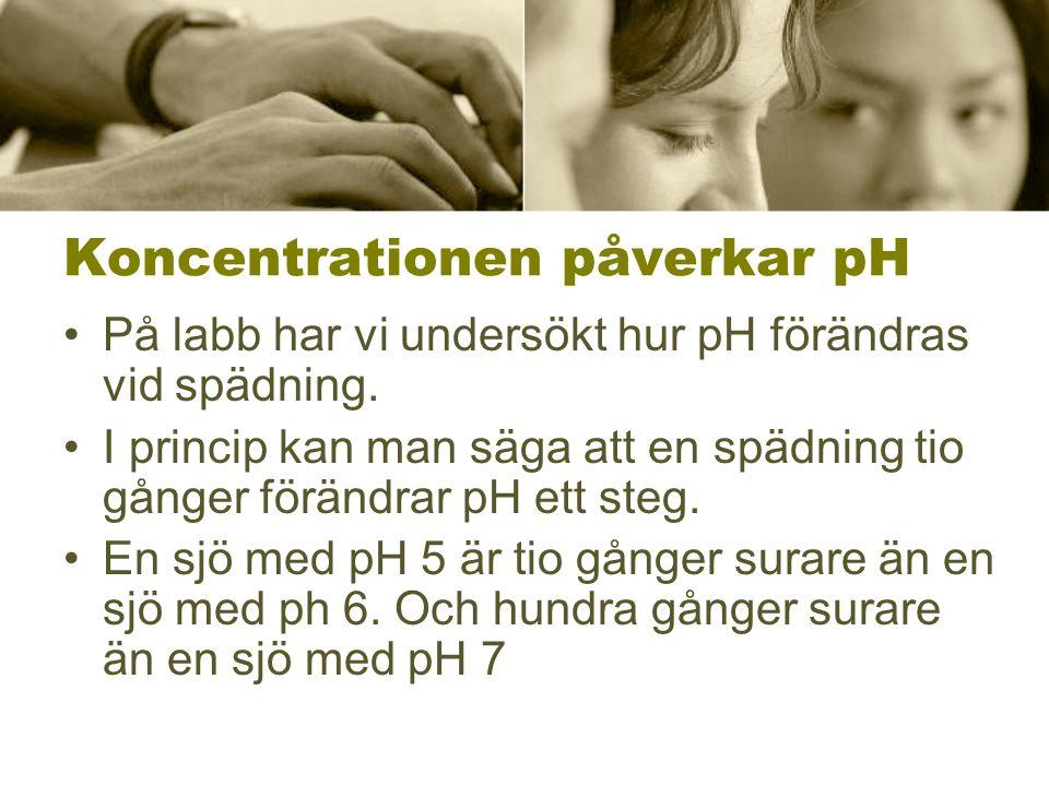 Koncentrationen påverkar pH