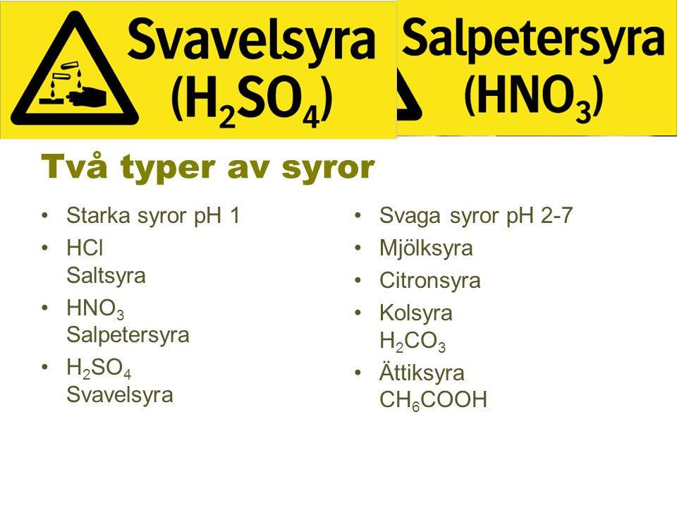 Två typer av syror Starka syror pH 1 HCl Saltsyra HNO3 Salpetersyra
