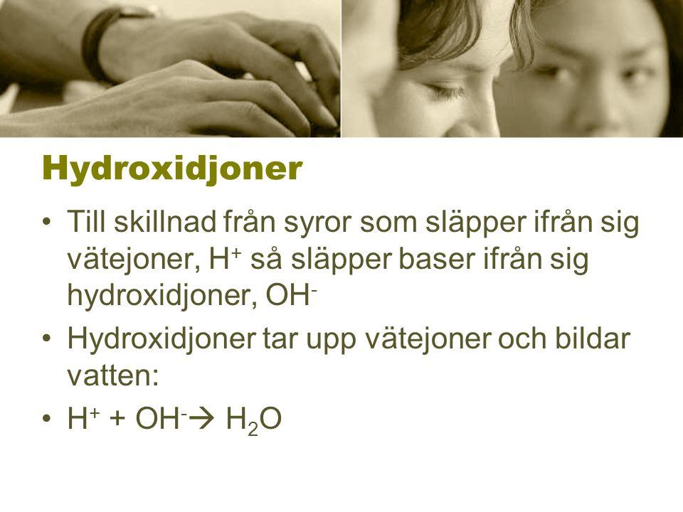 Hydroxidjoner Till skillnad från syror som släpper ifrån sig vätejoner, H+ så släpper baser ifrån sig hydroxidjoner, OH-