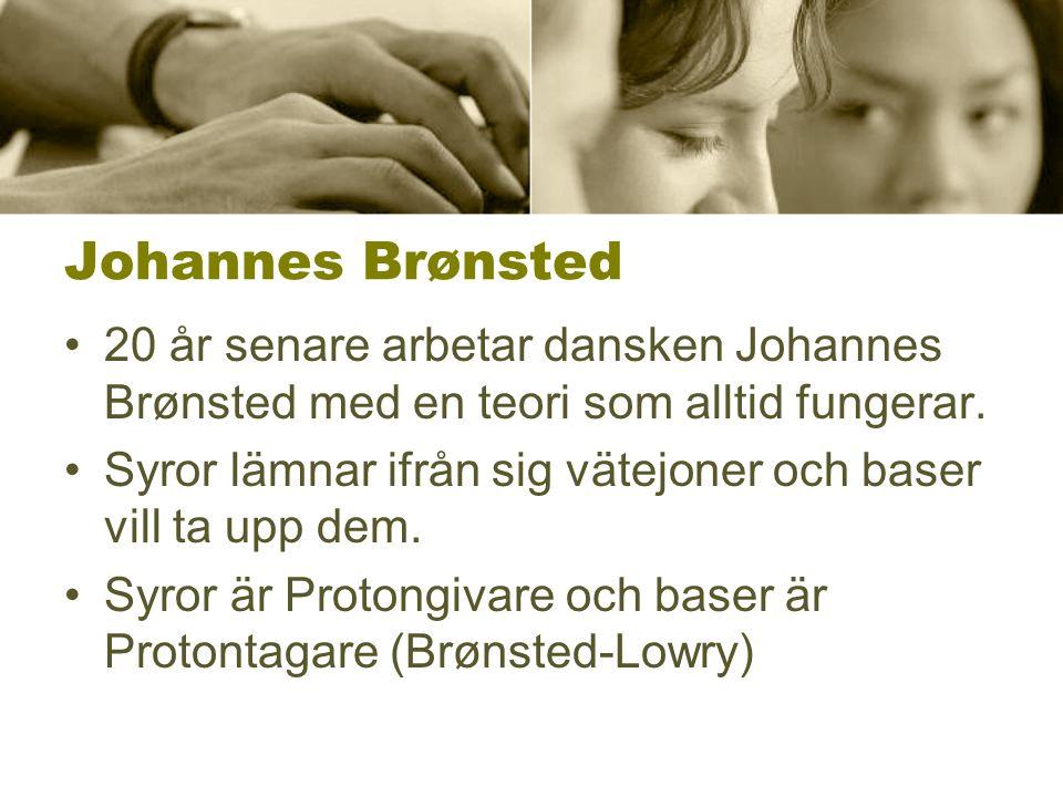 Johannes Brønsted 20 år senare arbetar dansken Johannes Brønsted med en teori som alltid fungerar.