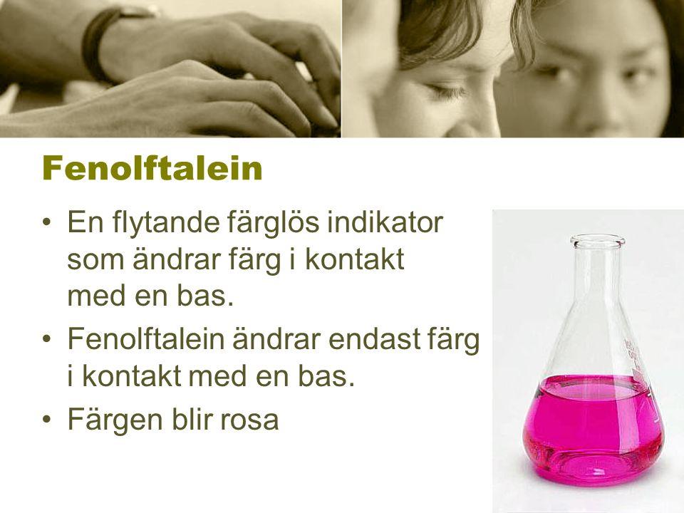 Fenolftalein En flytande färglös indikator som ändrar färg i kontakt med en bas. Fenolftalein ändrar endast färg i kontakt med en bas.