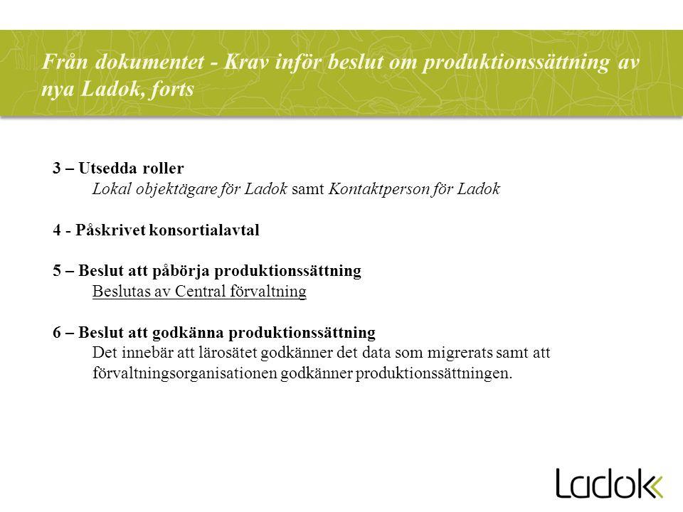 Från dokumentet - Krav inför beslut om produktionssättning av nya Ladok, forts