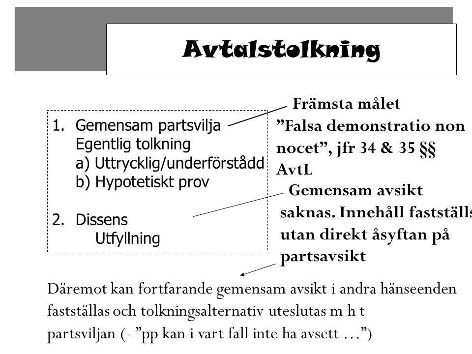 Avtalstolkning Främsta målet Falsa demonstratio non nocet , jfr 34 & 35 §§ AvtL.