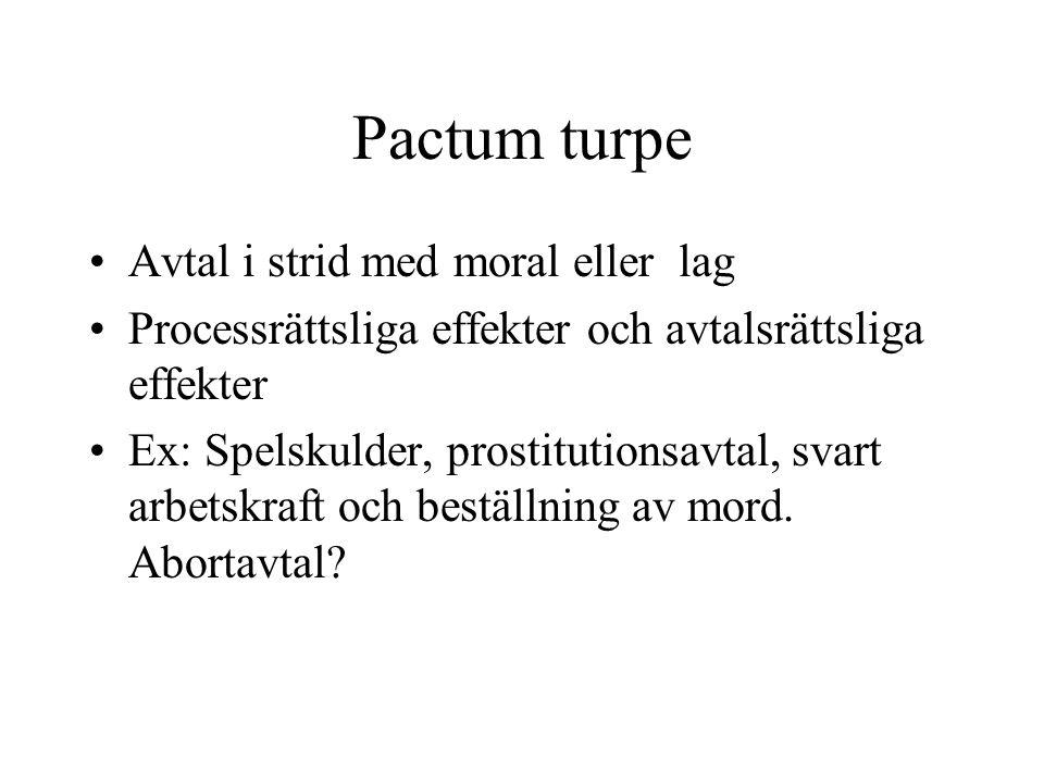 Pactum turpe Avtal i strid med moral eller lag