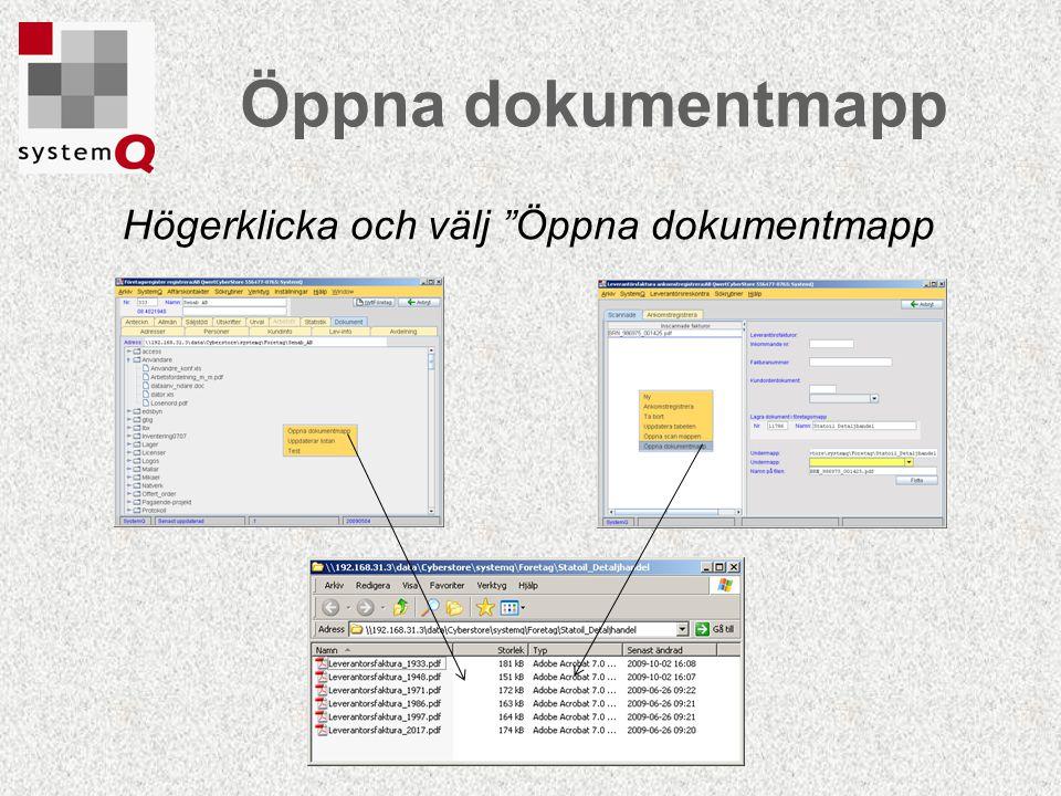 Öppna dokumentmapp Högerklicka och välj Öppna dokumentmapp