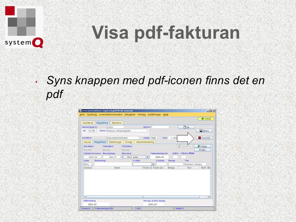 Visa pdf-fakturan Syns knappen med pdf-iconen finns det en pdf