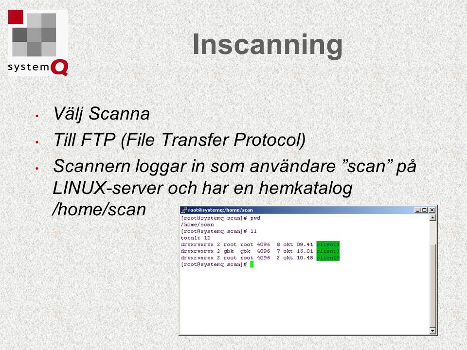 Inscanning Välj Scanna Till FTP (File Transfer Protocol)