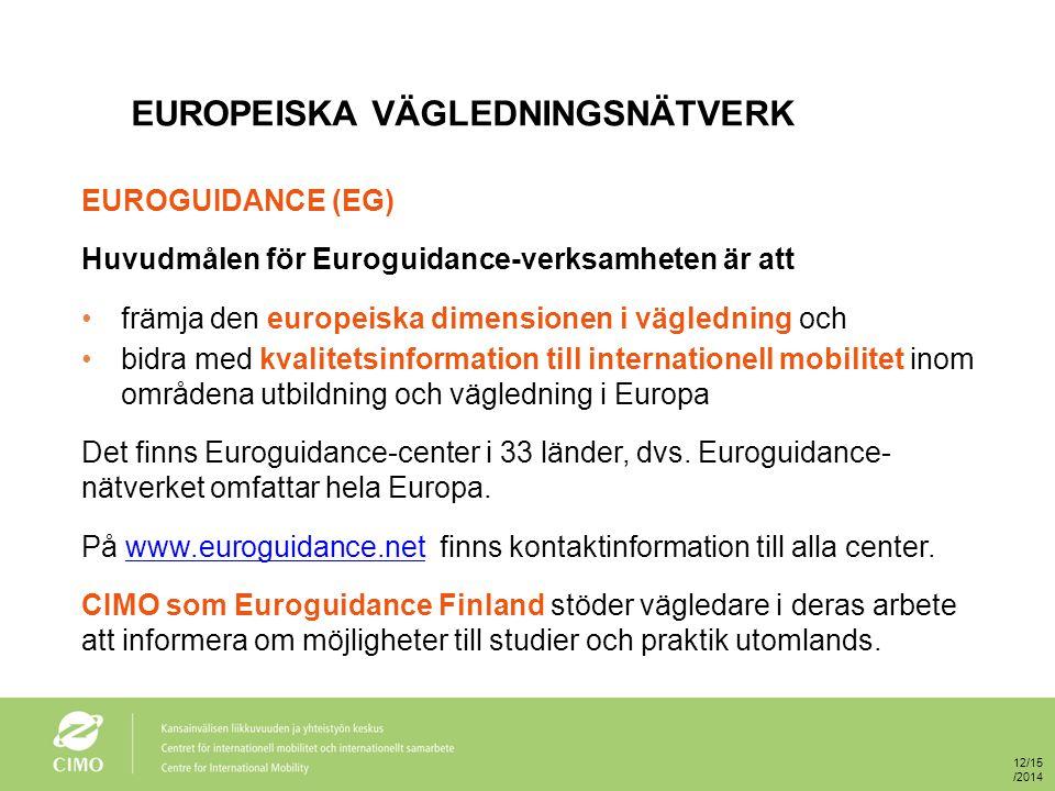 EUROGUIDANCE FINLAND - MÅLGRUPPER