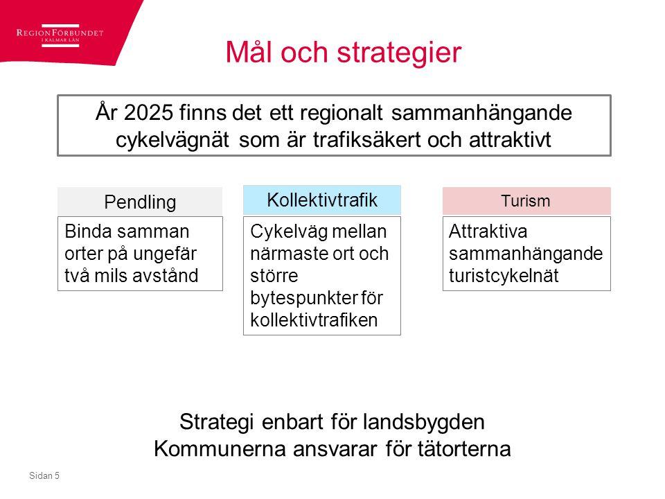 Mål och strategier År 2025 finns det ett regionalt sammanhängande cykelvägnät som är trafiksäkert och attraktivt.
