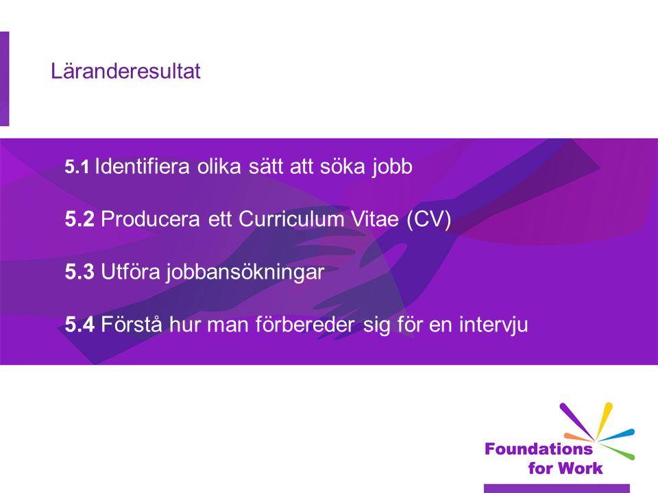 5.2 Producera ett Curriculum Vitae (CV) 5.3 Utföra jobbansökningar