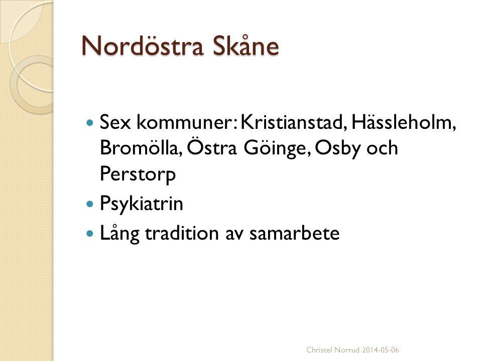 Nordöstra Skåne Sex kommuner: Kristianstad, Hässleholm, Bromölla, Östra Göinge, Osby och Perstorp.