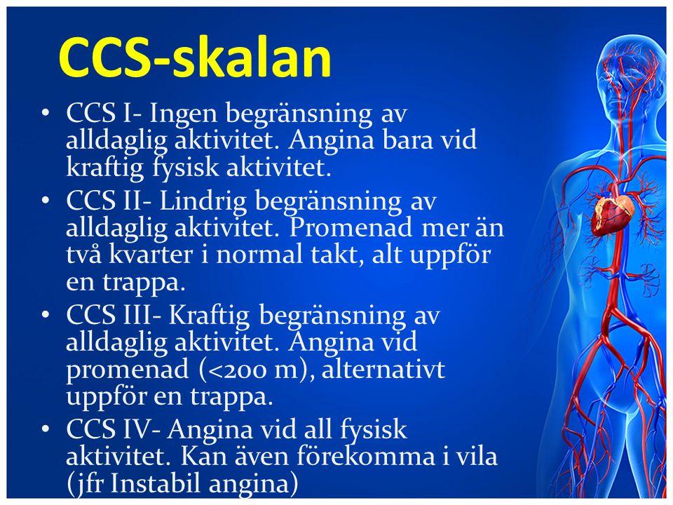 CCS-skalan CCS I- Ingen begränsning av alldaglig aktivitet. Angina bara vid kraftig fysisk aktivitet.