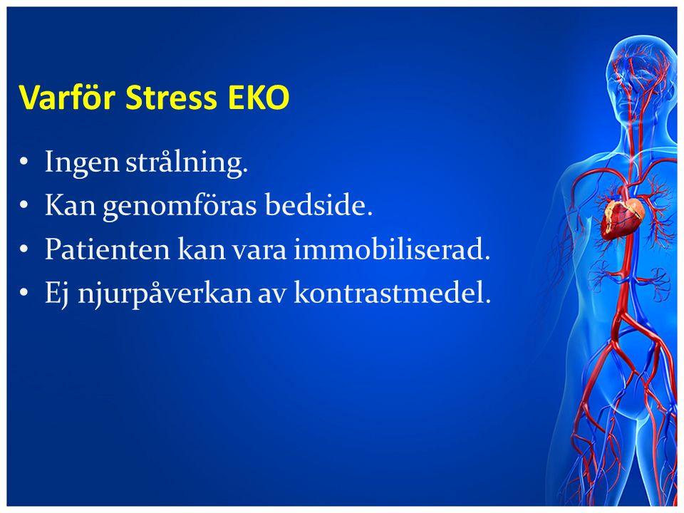 Varför Stress EKO Ingen strålning. Kan genomföras bedside.