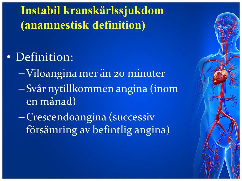 Instabil kranskärlssjukdom (anamnestisk definition)